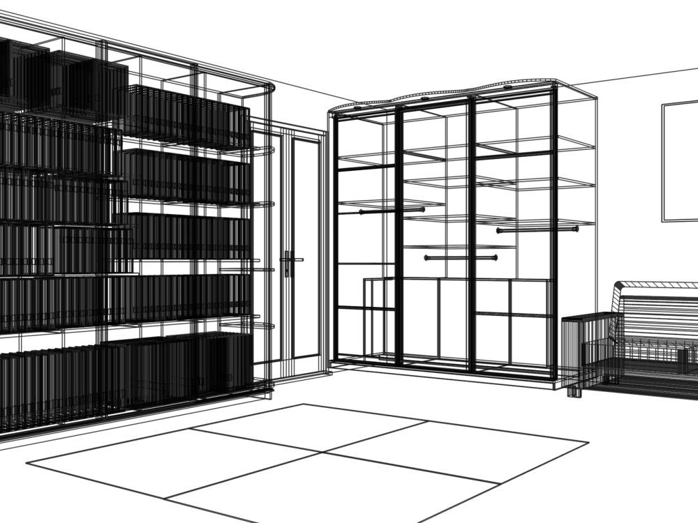 Дизайн проект, эскиз встроенного шкафа-купе