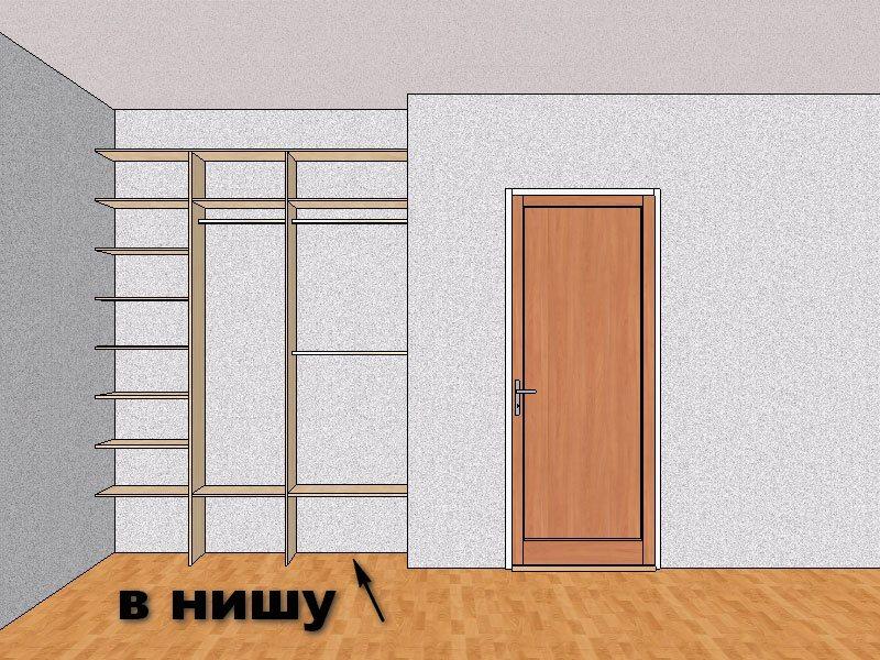 Встроенный шкаф-купе в нишу квартиры
