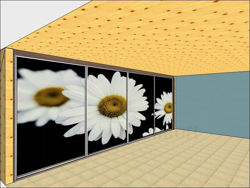 Цветы фотопечать шкаф купе для мансарды фото
