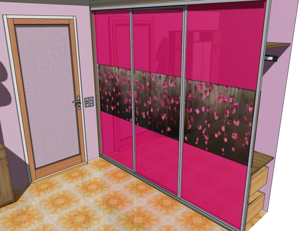 Фото дизайна детского встроенного шкафа-купе с фото-печатью и цветными стеклами