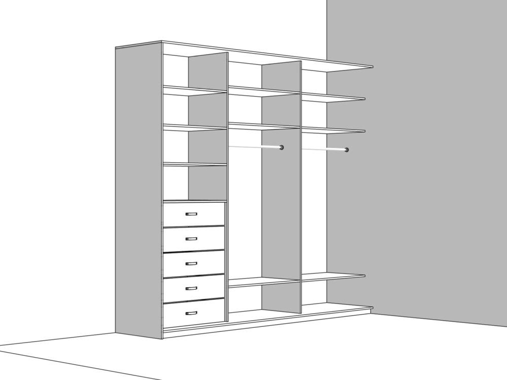 Конструкция шкафа купе частично встроенного в угол прихожей комнаты фото