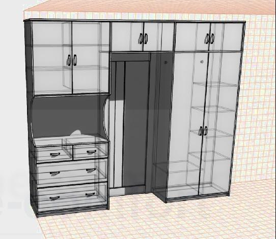 Вариант дизайна мебели по индивидуальному проекту