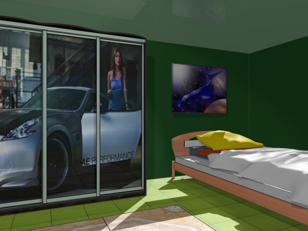 Оформление спальни встроенным шкафом-купе