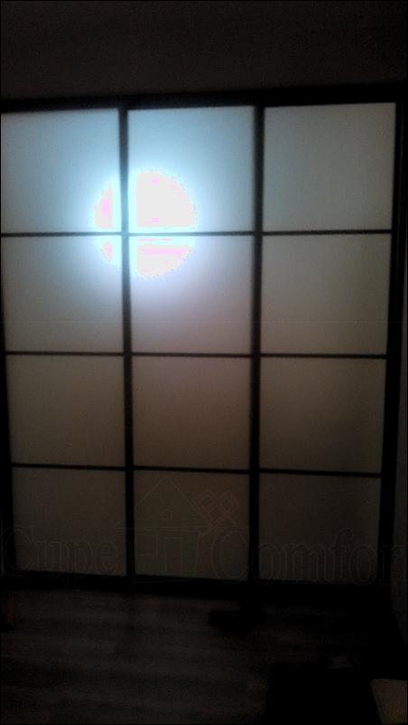 Межкомнатная перегородка с раздвижными дверьми купе матовое стекло фото