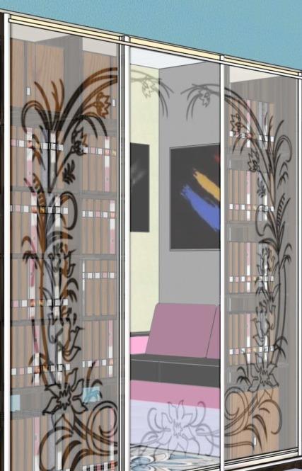 Шкаф-купе зеркально-матовый фото дизайна картинки