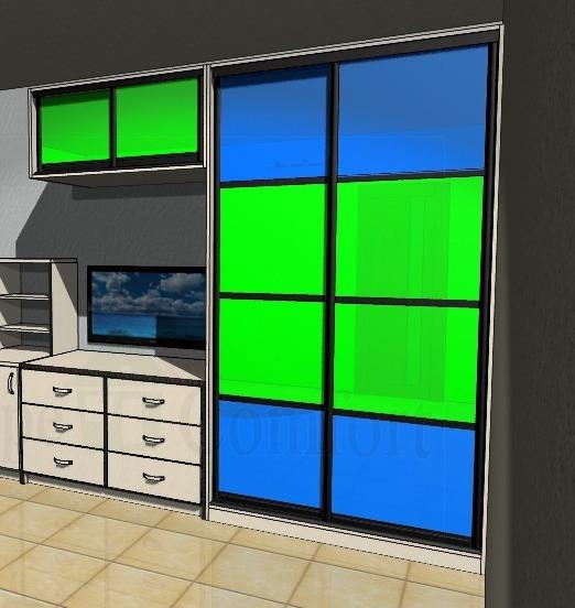 Недорогие двери купе с цветными стеклами для гардеробной в комнате фото