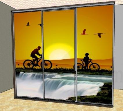 Дизайн дверей купе от пола до потолка с фотопечатью фото