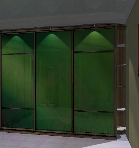 Фотография дизайна дверей купе шкафа, цветные стекла